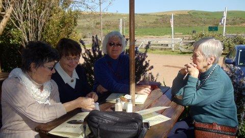 Hermien du Plessis, Hildegard du Plessis, Hendrien Visser en Beulah Oberholster besig om te knoei sodat ons sommer weer gou kongres kan hou!